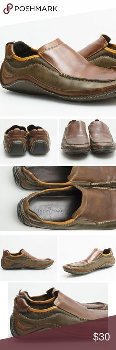 Cole Haan x Nike Air Loafers Slip On Driver Mocs Size: 9.5 Medium  Approx. Length : 28.5cm?  Colors : May Vary from Screen to Screen | Brown, Orange, a Light Distressed Brown/Green?  Soles : 8/10 (Theres a good chunk of life left)?  Condition : 8/10 | The leather is still smooth as ever, no tears or rips. There are some snags, most noticeable in the front of the shoes (normal wear) - you can see these in image 6 and unless you're at that level you'll miss it.?  Please view images for more…