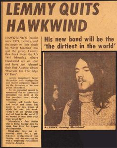 """nprmusic: superseventies: Lemmy quits Hawkwind to form Motorhead, 1975. """"His new band will be the 'dirtiest in the world.'"""" AMEN. —Lars"""