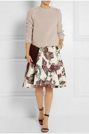 RochasPrinted satin skirt