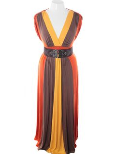 Plus Size Ravising Floor Length Belted Orange Sleeveless Dress,