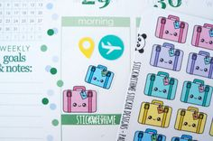Travel/Luggage PLANNER STICKERS SWM36 by STICKWITHMEshop on Etsy