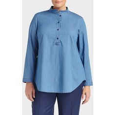 Lafayette 148 New York Plus-Size Deluxe Stretch Denim Hattie Shirt ($328) ❤ liked on Polyvore featuring plus size fashion, plus size clothing, plus size tops, celestial blue, plus size, plus size shirts, button shirts, ruched sleeve top, plus size long sleeve tops and blue long sleeve shirt
