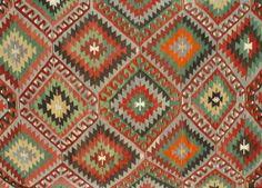VINTAGE Turkish Kilim Rug Carpet Handwoven by TurkishCraftsArts, $695.00