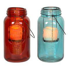 Colored Mason Jar LED Lanterns   Kirklands..coloured ones