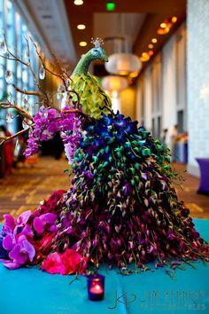 Peacock of Orchids floral arrangement Deco Floral, Arte Floral, Floral Design, Ikebana, Peacock Decor, Peacock Art, Peacock Colors, Flower Designs, Flower Art