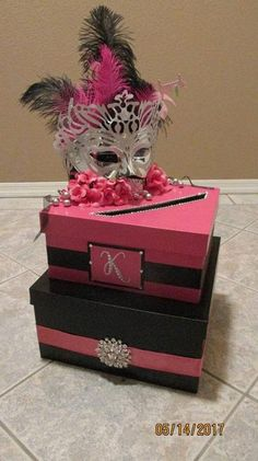 2 Tiered colored party card box is beautifully handmade. Decorated with ribbon, . Masquerade Party Cake, Masquerade Party Centerpieces, Masquerade Ball Decorations, Sweet 16 Masquerade, Masquerade Wedding, Balloon Centerpieces, Wedding Centerpieces, Quinceanera Planning, Quinceanera Party