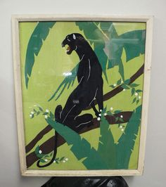 art deco black panther framed painting/ 1930's by secreteyesonly, $325.00