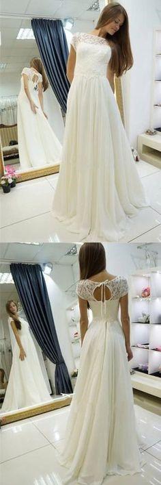 A-line Chiffon Long Beach Bateau Sweep Train Cap Sleeves Wedding Dress with Lace #longsleeveweddingdresses