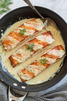 Salmon with Creamy Garlic Dijon Sauce - Cooking Classy Salmon Recipe Pan, Dill Sauce For Salmon, Seared Salmon Recipes, Butter Salmon, Baked Salmon, Recipes For Salmon, Fish Recipes, Seafood Recipes, Pisces