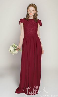 Cap Sleeves Long Lace and Chiffon Bridesmaid Dress TBQP322D click for 40+ colors