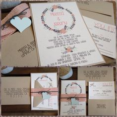 Modern Wedding Invitations  Floral Wreath Collection Pastels Coral Peach Mint Gray Taupe by kandvcrafts on Etsy, $5.75