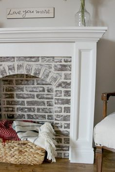 You're Going to Make It, You Better Fake It--DIY Fake Brick Fireplace How to DIY a Faux Brick Fireplace and you'll never believe how easy it is!How to DIY a Faux Brick Fireplace and you'll never believe how easy it is! Farmhouse Fireplace, Diy Fireplace, Fireplace Design, Farmhouse Decor, Farmhouse Ideas, Farmhouse Garden, Wood Mantle, Farmhouse Furniture, Fake Mantle