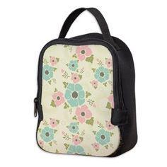 "Nostalgic flowers Neoprene Lunch Bag Beige seamless vintage pattern ""Nostalgic flowers""  $32.49"