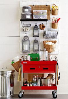 Plastic peg board is great for storage, organization and display. You can cut it to fit your space and customize it with any standard size hook. It is great for garages, homes, and retail spaces.