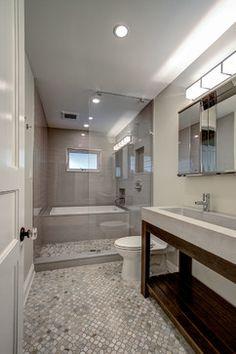 Park Slope Brownstone ben herzog concrete sink trueform open shower wet room mosaic slate tile floor.