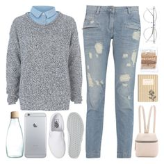 """""""Untitled #696"""" by chantellehofland ❤ liked on Polyvore featuring Kara, River Island, Pierre Balmain, Vans, Wildfox and Retap"""