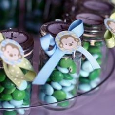 Monkey Themed Baby Shower {free printables} use blue, brown and green m&m's