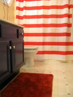 Nautical Kids Bathroom Makeover.  Navy and Red and White Stripes  by A Turtle's Life for Me