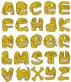 Skull-alphabet, made for Ton de Ruyter. Frits Jonker