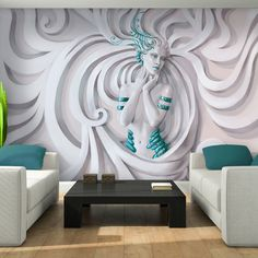 Photo Wallpaper 3D LOW RELIEF MEDUSA IN BLUE Wall Mural (3045VE)