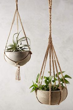 Anthropologie Kiri Wood Hanging Planter