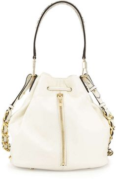 Elizabeth and James Cynnie Leather and Python Printed Bucket Bag, Ivory