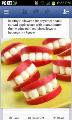 clever! marsh mellows apple and can use peanut butter to stick together