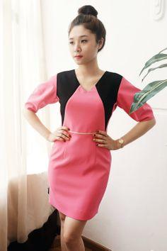 Đầm hồng phối đen