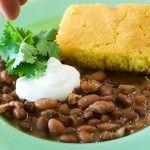 Pinto beans and corn bread by the pioneer woman. Yummy! Great for a rainy day like today!