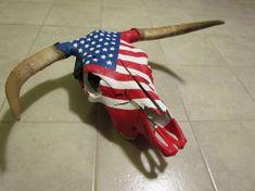 American flag cow skull My cow skulls for sale… Deer Skull Art, Cow Skull Decor, Painted Animal Skulls, Skulls For Sale, Skull Crafts, Diy Crafts, Bone Crafts, Cow Head, Skull Painting