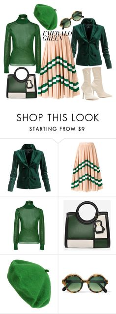 """""""Sin título #1334"""" by yblacasa ❤ liked on Polyvore featuring Valentino, Delpozo, Cutler and Gross, Yeezy by Kanye West and emeraldgreen"""