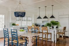 White Kitchen with Blue accents. White kitchen with navy blue accents. White kitchen with blue decor. Beach Cottage Style, Beach House Decor, Home Decor, Beach Houses, Beach Cottages, Beach House Kitchens, Home Kitchens, Coastal Kitchens, Dream Kitchens