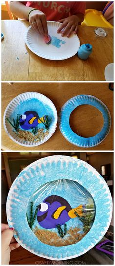 Finding Dory paper plate craft for kids to make! It looks like a porthole or aquar