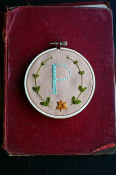 Custom Initial Floral Wreath hand embroidered 4 by PoppyandFern, $40.00