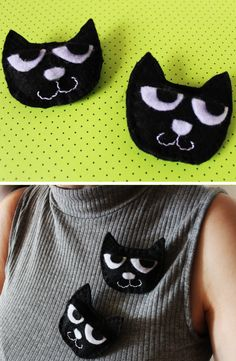 How to Make Brooch - Halloween Accesories - Buttons Pins - Cat - Broszka Przypinka Kot Brooch made of felt in the shape of a cat. Have fun watching and creating (*^^*) Halloween Cards, Halloween Decorations, Diy Box, Cool Watches, Diy Tutorial, Baby Shoes, Have Fun, Felt, Brooch