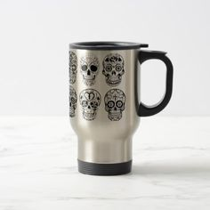 Dia de los Muertos Skulls (Day of the Dead) Travel Mug - Halloween happyhalloween festival party holiday