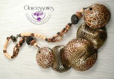 Ethnic necklace-Polymer clay necklace-Animal skin by claycessories