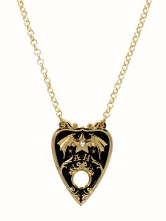 Automatic Honey | Bat Wing Planchette Necklace in black