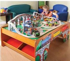 100 Piece Thomas Train Talking Activity Table Wooden Tracks Included Kids Play & wood train table plans | Wooden Train Set Tables | Pinterest | Train ...