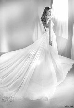 atelier pronovias 2018 bridal sleeveless deep v neckline ruched bodice simple romantic soft a line wedding dress square back chapel train (16) bv