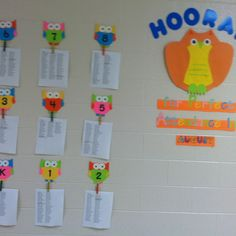 Hooray for perfect attendance. School wide board developed by school counselors or guidance department to reward monthly perfect attendance. Under each owl is the list of students for that grade who received perfect attendance for that month. Attendance Incentives, Attendance Board, School Attendance, Attendance Ideas, School Social Work, School Fun, School Stuff, Elementary Counseling, School Counselor