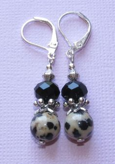 Dalmatian Jasper Black Crystal Rondelle Silver Plated LEVERBACK Drop Earrings #BusyBeeBumbleBeads #DropDangle
