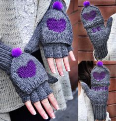 Be My Valentine Flirty Fingerless Gloves with Vday Messages Knitting pattern by Lauren Riker Fingerless Gloves Knitted, Crochet Gloves, Knit Mittens, Knit Crochet, Crochet Pattern, Mittens Pattern, Wrist Warmers, Baby Set, Knitting Patterns Free