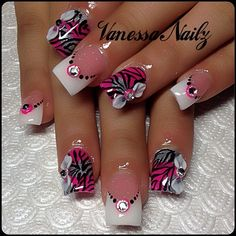 Hot pink and black zebra stripe embellished French tip manicure nail art