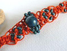Hand Knitted Bracelet Flowers made in macrame technics by Spti, $5.50
