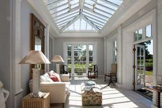 Orangery-style roof / see Vale Garden Houses UK for history of Orangery and difference from Conservatory. Much too rich for our blood, but a style touchstone for the new skylight. Key is that roof doesn't cover entire footprint of room / structure, and lower-pitched (which uses less glass).