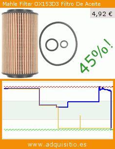 Mahle Filter OX153D3 Filtro De Aceite (Automóvil). Baja 45%! Precio actual 4,92 €, el precio anterior fue de 9,02 €. https://www.adquisitio.es/mahle-filter/ox153d3-filtro-aceite