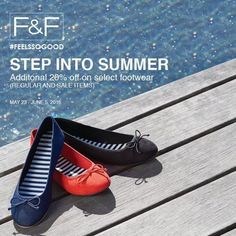 Been waiting for a proper back to school kickoff?  Spice up your wardrobe with F&F's special offers just for you!  Get an ADDITIONAL 20% OFF on select footwear!  Promo valid until June 5, 2016.  Visit F&F stores at Glorietta 3, Century City Mall, SM North Edsa, Estancia at Capitol Commons, Paseo de Sta. Rosa, SM Clark, Ayala Center Cebu, Veranza Mall and Limketkai Mall.  http://mypromo.com.ph/
