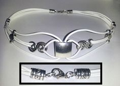 Fancy White Leather BDSM collar. This style can also be made in black, navy blue, red, purple, pink, and dark green.