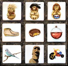 Refrigerator Magnets- Images that define our lives. Fine Porcelain, Painted Porcelain, Easter Island, Big Wheel, China Painting, Refrigerator Magnets, Hush Puppies, Parakeet, Bobber